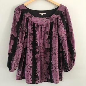 Nanette Lepore Silk Blouse Purple Floral 6